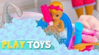 Barbie Baby Doll Play Hide n Seek in Bubbles Glam Barbie Bathroom! Silly dolls pretend play parody