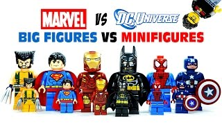 LEGO DC vs Marvel Superheroes Big Figures vs Minifigures KnockOffs w/ Batman & Spiderman