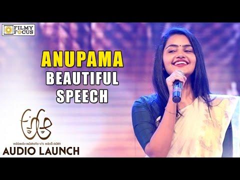 Anupama Parameshwaran Beautiful Speech at A Aa Audio Launch - Filmyfocus.com
