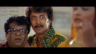 Sudeep and Tennis Krishna steal box from Railway Station | Kannada Comedy Scene | Veera Madakari