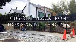 "Custom Black Iron Horizontal ""Slat"" Fencing & Pedestrian Gates"