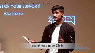 DJ Zaeden at the Heritage School TEDx filmed by EducationWorld Films