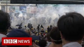 Hong Kong government offices close in worst violence in decades - BBC News