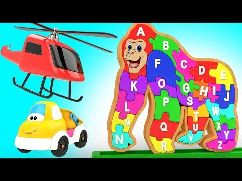 ABC Song for Kids - Baby Fun Playing with Wooden Gorilla Toy to Learn Alphabets for Children