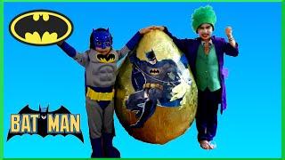 GIANT EGG SURPRISE OPENING Batman VS Joker Superhero Toys Kids Video Batman Toys GIANT Surprise EGG