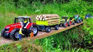 BRUDER TOYS MASSEY FERGUSON 7624 RC Tractor Forestry trailer
