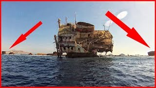 Abandoned ship in Red sea, Egypt. Abandoned merchant ship. How the sea destroys ships
