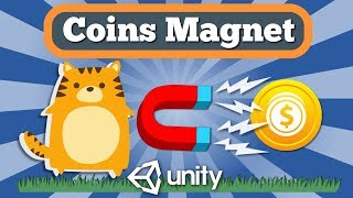 Unity Tutorial How To Make Coins Magnet And Simple Coins Score UI Counter For 2D Arcade Game.