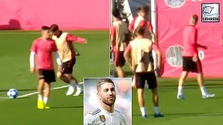 Sergio Ramos Fires Ball Twice At Youngster Sergio Reguilon After Heated Exchange
