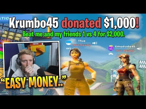 Tfue Accepts 1v4 Challenge for 3000 from Random Fan