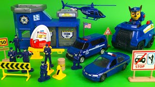 Motor Max police station playset with police cars and Paw Patrol Chase and Disney Olaf the snowman