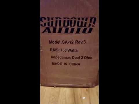 sundown audio sa 12 rev.3 dual 2 ohm 750 watt rms unboxing