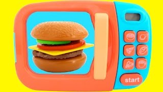 Toy Microwave Hamburger Playset Play Doh Learn Fruits & Vegetables with Velcro Toys for Kids
