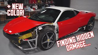 WRECKED Ferrari 458 Gets a new Color + Finding more Damage...