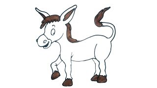 how to draw a donkey | Easy Step by Step Drawing for kids | Children Drawing and Coloring