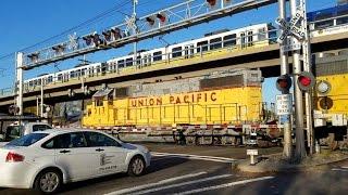 Sunrise Boulevard Railroad Crossing, UP 717 Placerville/Folsom Turn Local, Light Rail On Bridge
