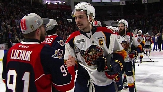 Spitfires, Otters shake hands at conclusion of Mastercard Memorial Cup