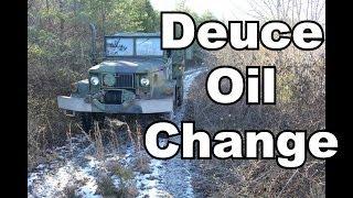 M35A2 Deuce and a half engine oil change.