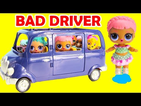 LOL Surprise Doll Buys Car Bad Driver