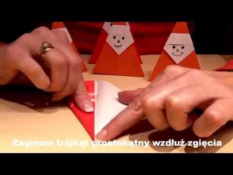 MIKOŁAJ ORIGAMI Jak złożyć Mikołaja z papieru