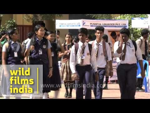 School students in Kerala: India's state with highest literacy