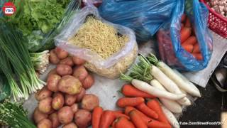 Daily Life Food Market in Cambodia, Cambodian Street Food Market #232