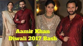 Kareena Kapoor And Saif Ali Khan At Aamir Khan Diwali Party 2017