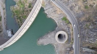 Lake Berryessa and the Glory Hole during and after drought.