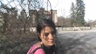 Hot teen brunette girl on the street Europe trip 2