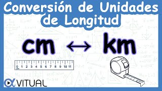 Conversión de unidades de longitud centímetros (cm) a kilómetros (km) y kilómetros a centímetros