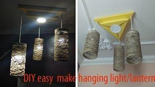 how to make a lampshade, hanging light ,lantern,jute /yarn wrapped light / DIY lamp /Craft/homedecor