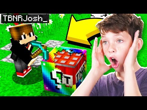 TROLLING MY LITTLE BROTHER IN MINECRAFT WITH RAINBOW LUCKY BLOCKS RAGE WARNING