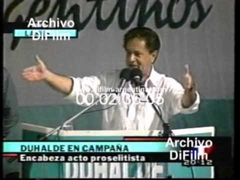DiFilm - Eduardo Duhalde en campaña en Lanus (1998)