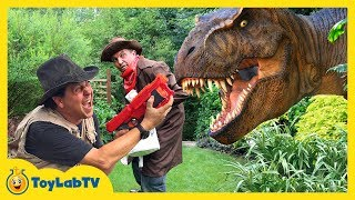 GIANT T-REX & LIFE SIZE DINOSAURS Chase Park Rangers & Despicable G! Kids Adventure w/ Dinosaur Toys