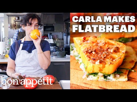 Carla Makes Falafel Spiced Tomatoes & Chickpeas on Flatbread From the Test Kitchen Bon Appétit