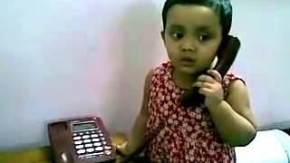 Bangla kid funny video   baby girl talking over phone 18082010   YouTube