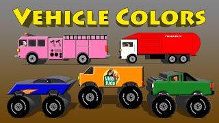 Vehicle Colors - Monster Truck, Van, Motorcycle, Fire Engine, Garbage Truck