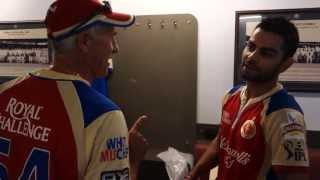 Virat Kohli and RCB celebrate in the dressing room after the win over the Sunrisers Hyderabad