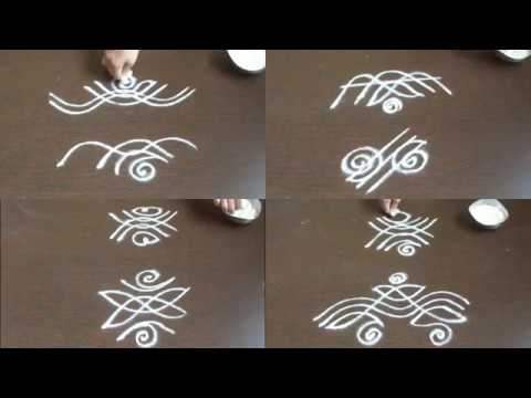 8 small side border kolam without dots  kolam side designs for learners