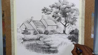Learn Pencil Drawing : House Landscape | step by step drawing & sketching