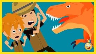GIANT T-REX vs Park Ranger Aaron, LB Animated Cartoon Jurassic Adventure Dinosaur Kid Movies w/ Hulk