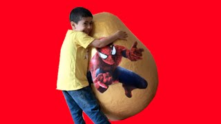 Super Giant Golden Surprise Egg - Spiderman Egg Toys Opening + 3 Kinder Surprise Eggs Unboxing