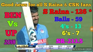 Suresh Raina 126* Off 59 Balls, 4's -13 & 6's -7 vs Bengal