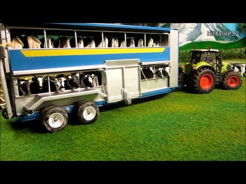 RC TRACTOR ACTION IHC Claas & cow trailer on the Farm COWS & SIKU R C