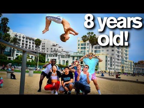 Extreme Acro Gymnasts vs 8 YEAR OLD dares