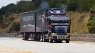 Freightliner Argosy ISX 620 with 7 inch pipes and loud jakes. Mean looking machine.