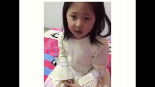 Cute Chinese daughter trolls her dad