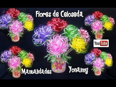 FLORES HECHAS CON CELOSEDA. PLASTIC RIBBON FLOWERS.
