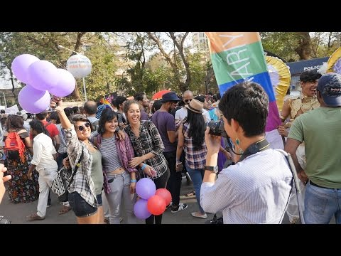 Queer Azaadi Mumbai Pride March 2017 HD Video Part 6.LGBT activists march for gay, lesbian rights