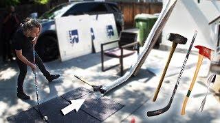 DIY Mini Golf With Random Objects! (SLEDGEHAMMER, HOCKEY STICK, AXE, SPOON)